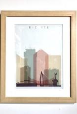 Harris & Co. Frame Shop Framed: Wichita Pastel Skyline - 14x18