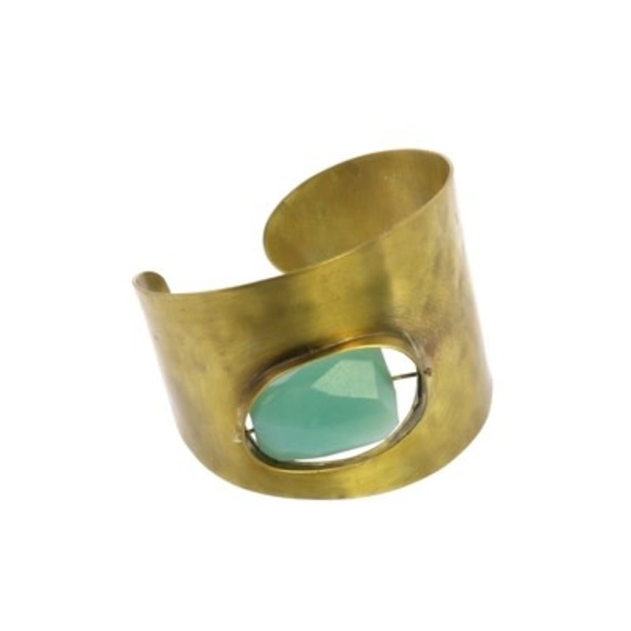 Floating Stone Brass Cuff - Amazonite