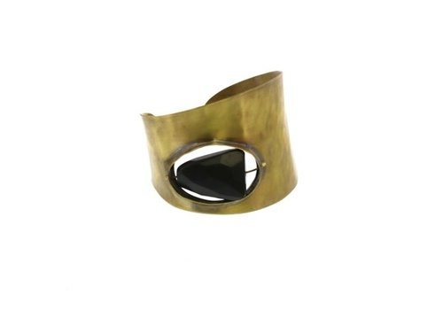 HomArt Floating Stone Brass Cuff - Matte Black Onyx