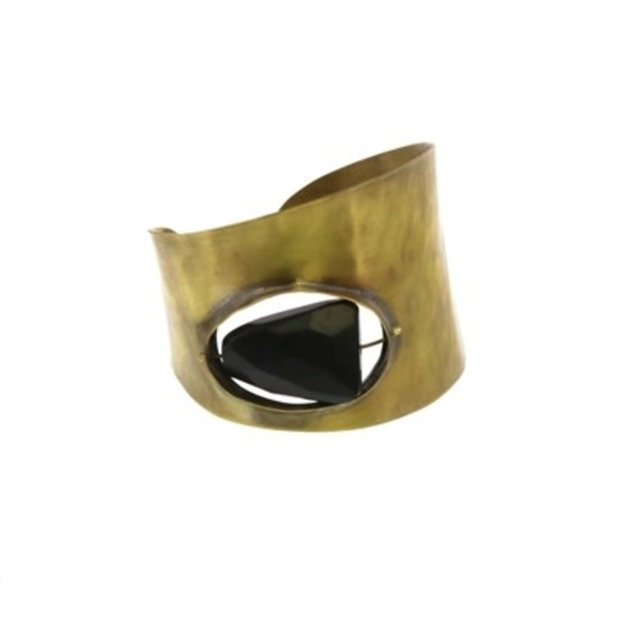 Floating Stone Brass Cuff - Matte Black Onyx