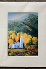 "Sharon Edwards Art ""Chapel Light of South Fork"" 5x7 Matted Print"