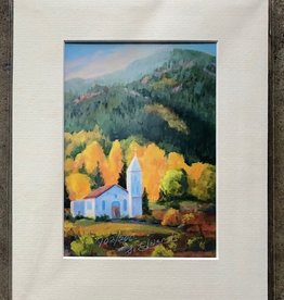 "Sharon Edwards Art ""Chapel Light of South Fork"" 5x7 Matted Print"