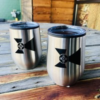 12 oz Stainless Wichita Flag Wine Tumbler