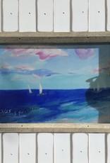 "Sharon Edwards Art ""Caribbean Love Cloud"" 5x7 White Fence Frame"