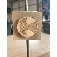 Round Wood ICT Flag Magnet