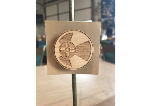 ICTMakers Round Wood ICT Flag Magnet