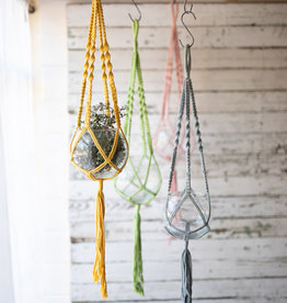 Kalalou Hanging Glass Vase with Cotton Macrame