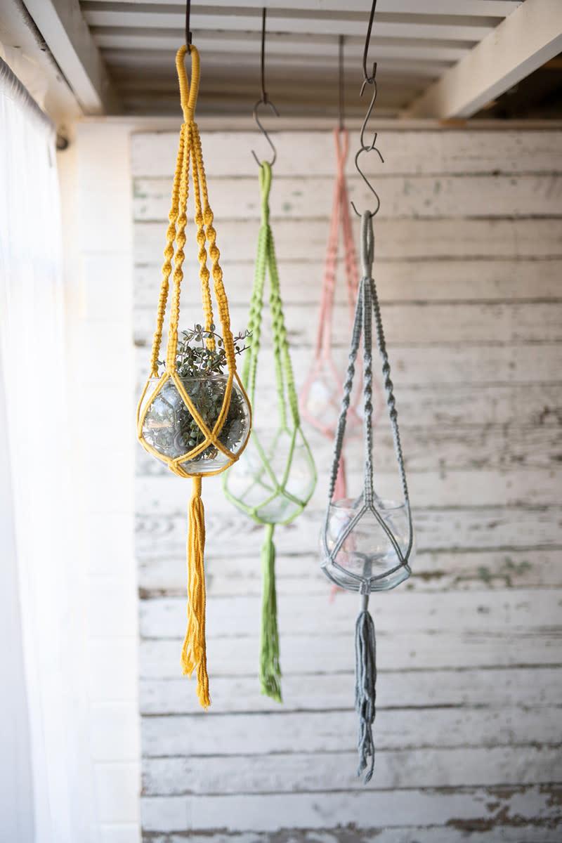 Kalalou Hanging Glass Vase with Cotton Macrame
