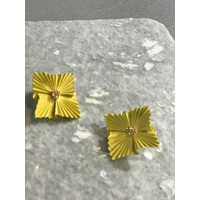 Fashion Yellow Ruffle with Gold Center Post Earrings