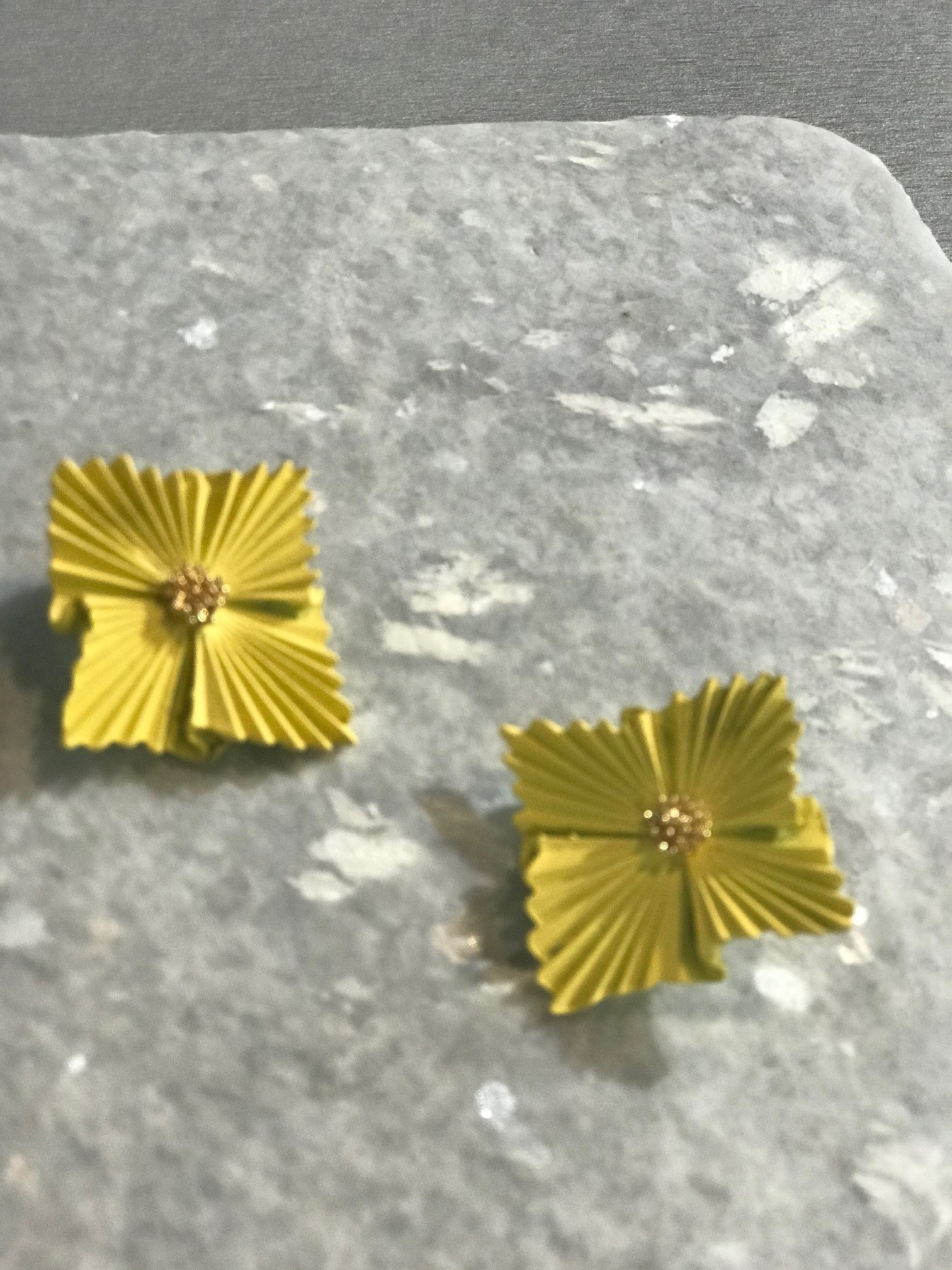 The Workroom Fashion Yellow Ruffle with Gold Center Post Earrings