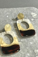 The Workroom Fashion Tri-tone Tortoise Shell Drop Earrings