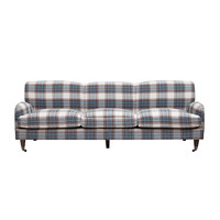 Blue and Brown Plaid Couch