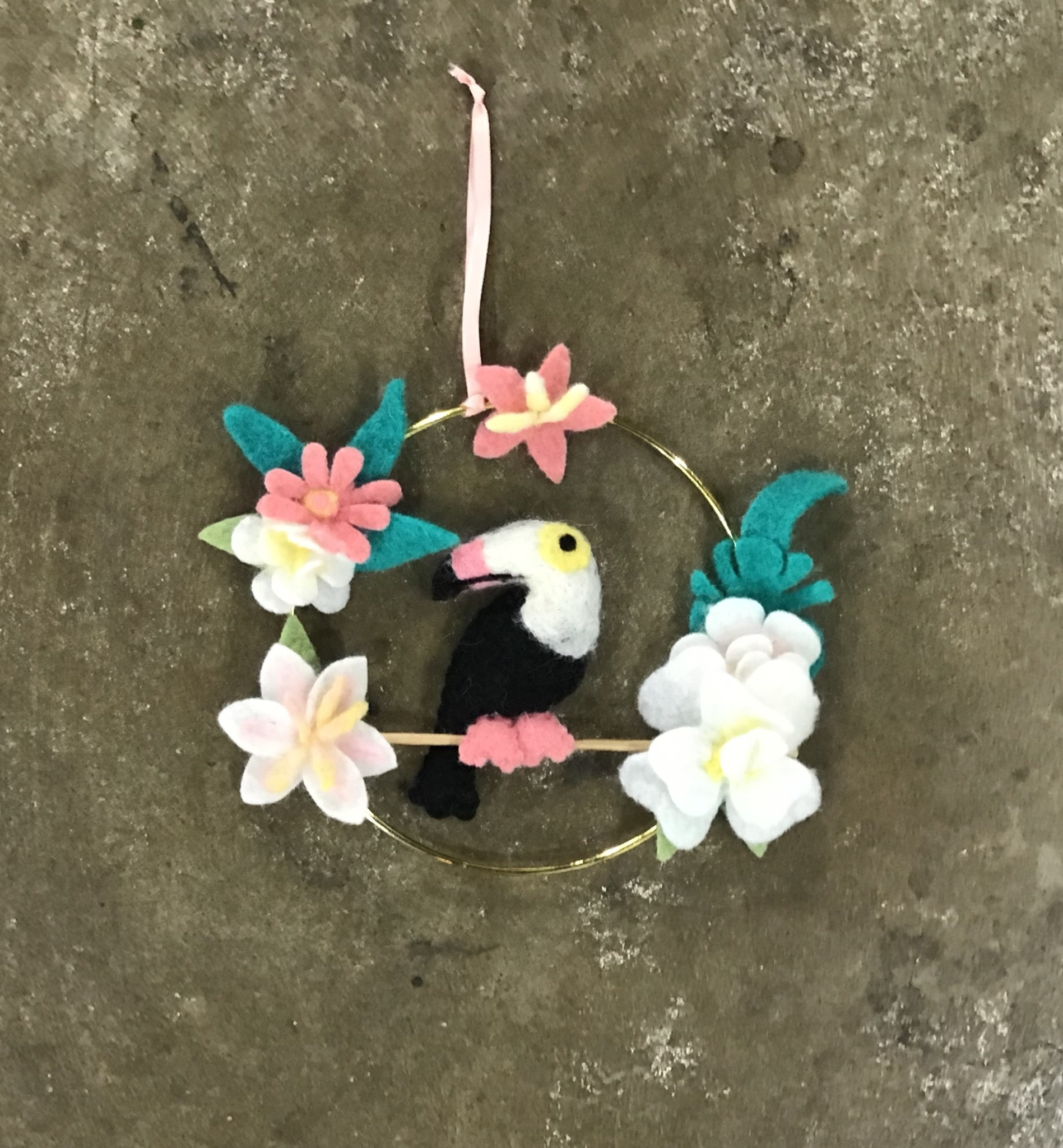 The Workroom Felted Bird Ring with Flowers