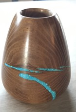 Mightier Than The Sword Small Container, Osage/Orange Wood with Turquoise