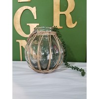 Wicker Wrapped Glass Vase with Handle