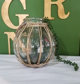 Kalalou Wicker Wrapped Glass Vase with Handle