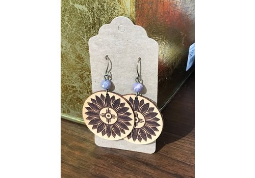 ICTMakers Sunflower w/ Hogan Leather Earrings