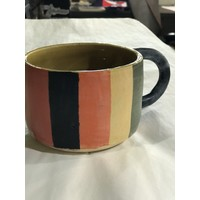 High Noon Pottery Color Strips and Yellow Mug