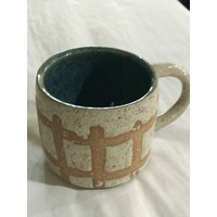 High Noon Pottery Vanilla grid and turquoise