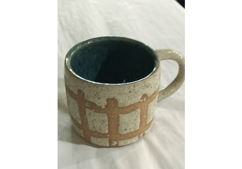 High Noon Pottery High Noon Pottery Vanilla grid and turquoise