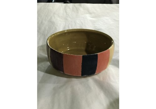 """High Noon Pottery Bowl Satin Colorblock 2"""" Tall"""