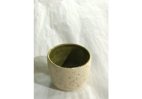 High Noon Pottery Shot Glass Vanilla/Olive