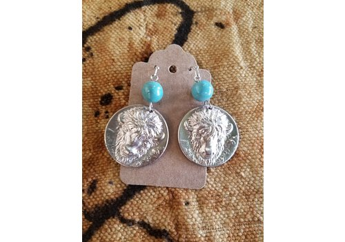 ICTMakers Plated Brass Bison w/ Turquoise Earrings