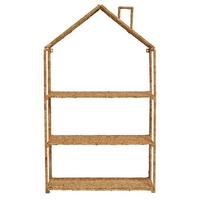 Woven Bankuan and Metal Foldable House Shelf