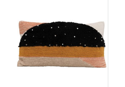 The Workroom Woven Cotton Lumbar Pillow w/ Sequins, Mulit-color