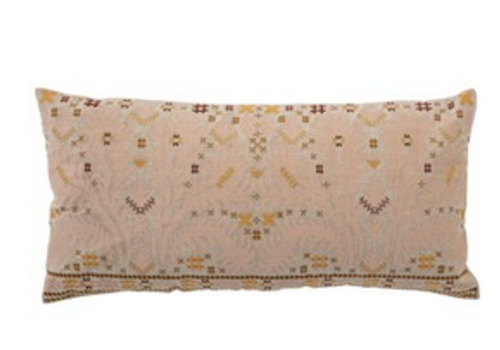 The Workroom Cotton Embroidered Lumbar Pillow