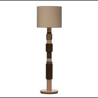 Wood Floor Lamp w/ Linen Shade