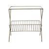 Metal Table w/ Glass Top and Magazine Rack, Gold Finish
