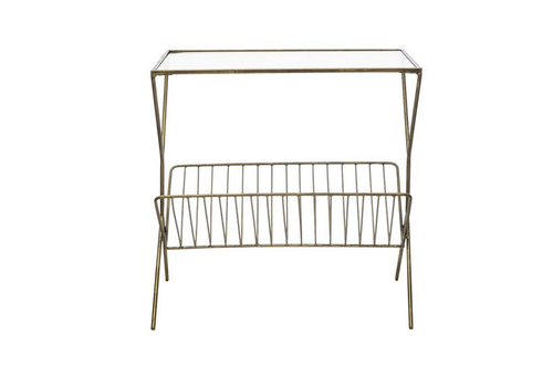The Workroom Metal Table w/ Glass Top and Magazine Rack, Gold Finish