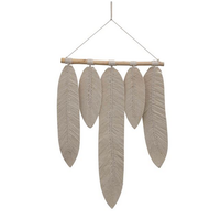 Wood and Cotton Macrame Leaves Wall Hanging