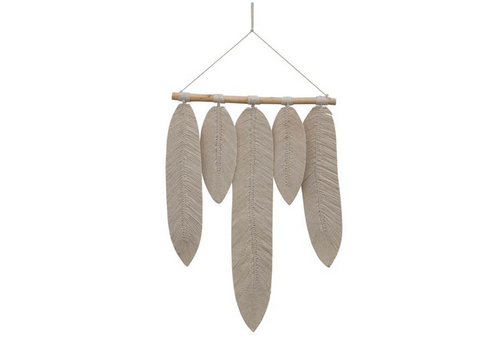 The Workroom Wood and Cotton Macrame Leaves Wall Hanging