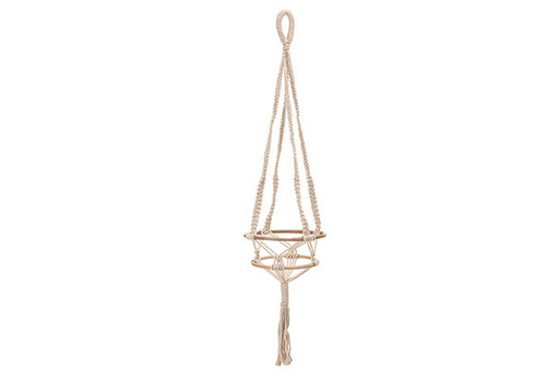 The Workroom Hand Woven Cotton Macrame Plant Hanger with Bamboo Rings