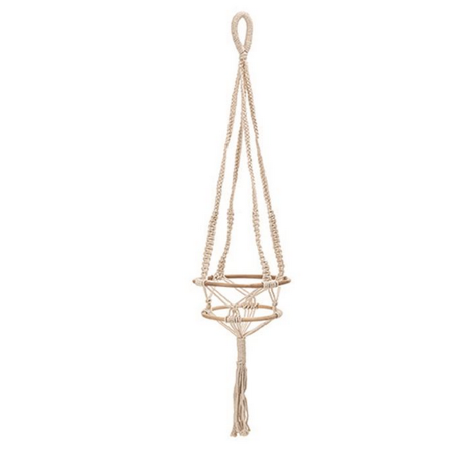 Hand Woven Cotton Macrame Plant Hanger with Bamboo Rings