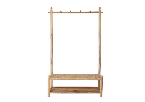 The Workroom Rattan and Woven Jute Rope Bench with 4 Hooks and 1 Shelf