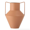Rust Colored Textured Metal Vase with Handles