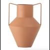The Workroom Rust Colored Textured Metal Vase with Handles
