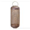Mauve, Enameled Punched Metal Lantern with Brass Finish