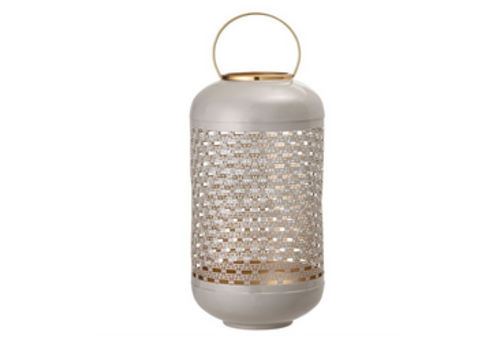 The Workroom Light Grey, Enameled Punched Metal Lantern with Brass Finish