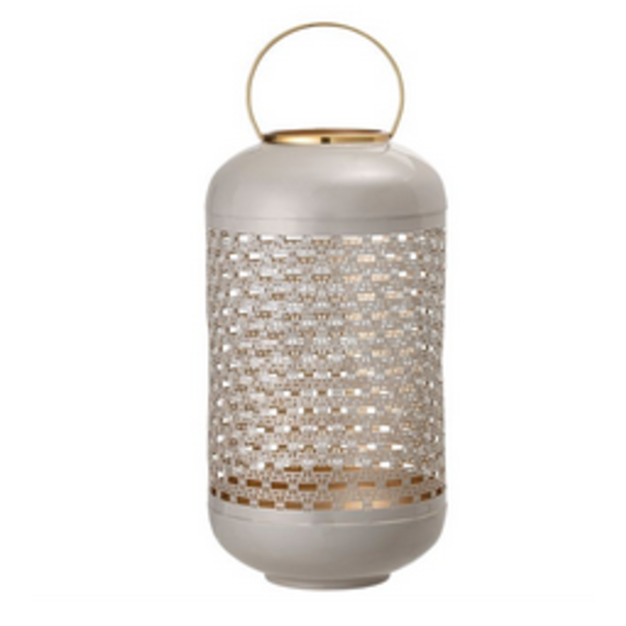 Light Grey, Enameled Punched Metal Lantern with Brass Finish