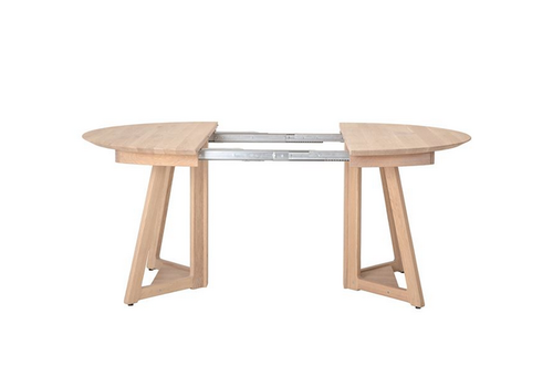 The Workroom Oak Wood Table with Two Leaves