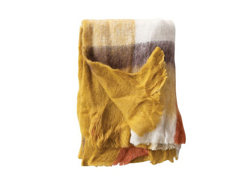 Bloomingville Wool and Acrylic Plaid Throw With Fringe