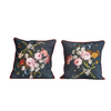 The Workroom Square Cotton Floral Pillow with Embroidery