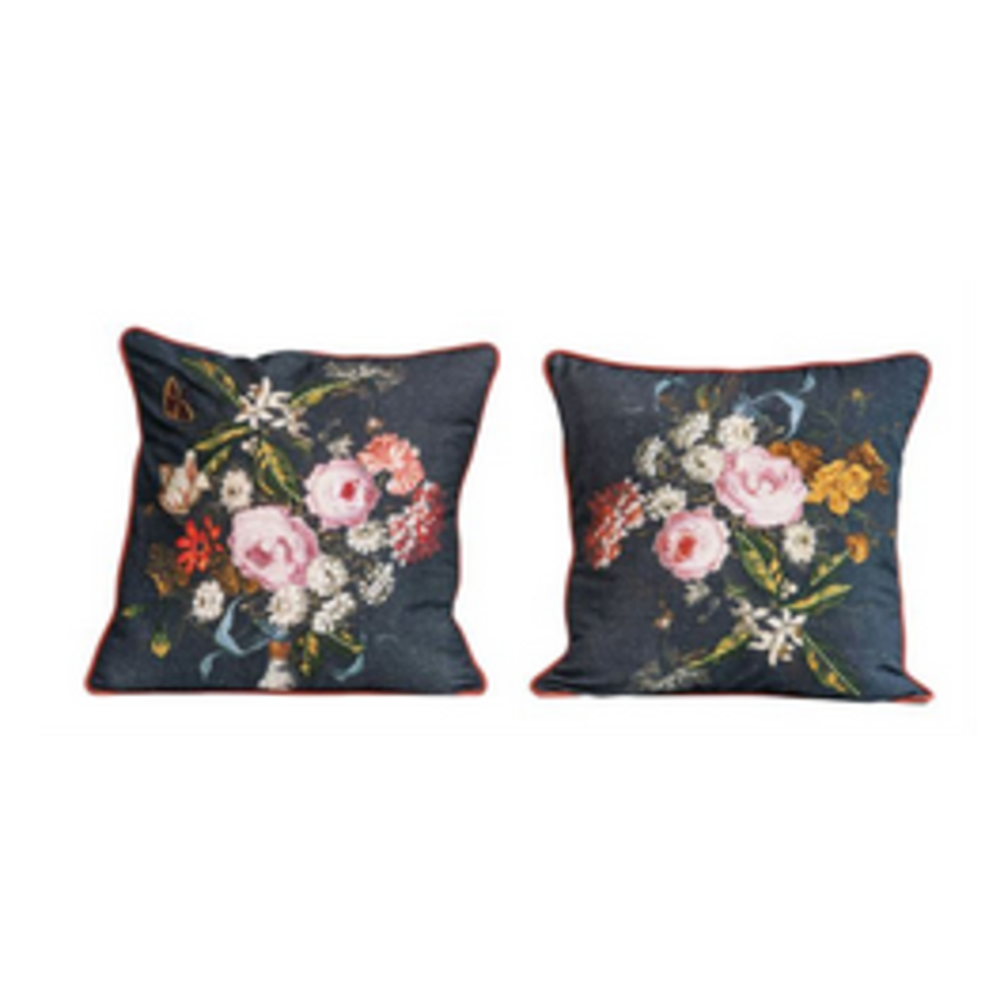 Square Cotton Floral Pillow with Embroidery