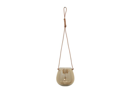 The Workroom Glass Hanging Planter/Vase with Leather Hanger, Iridescent Brown