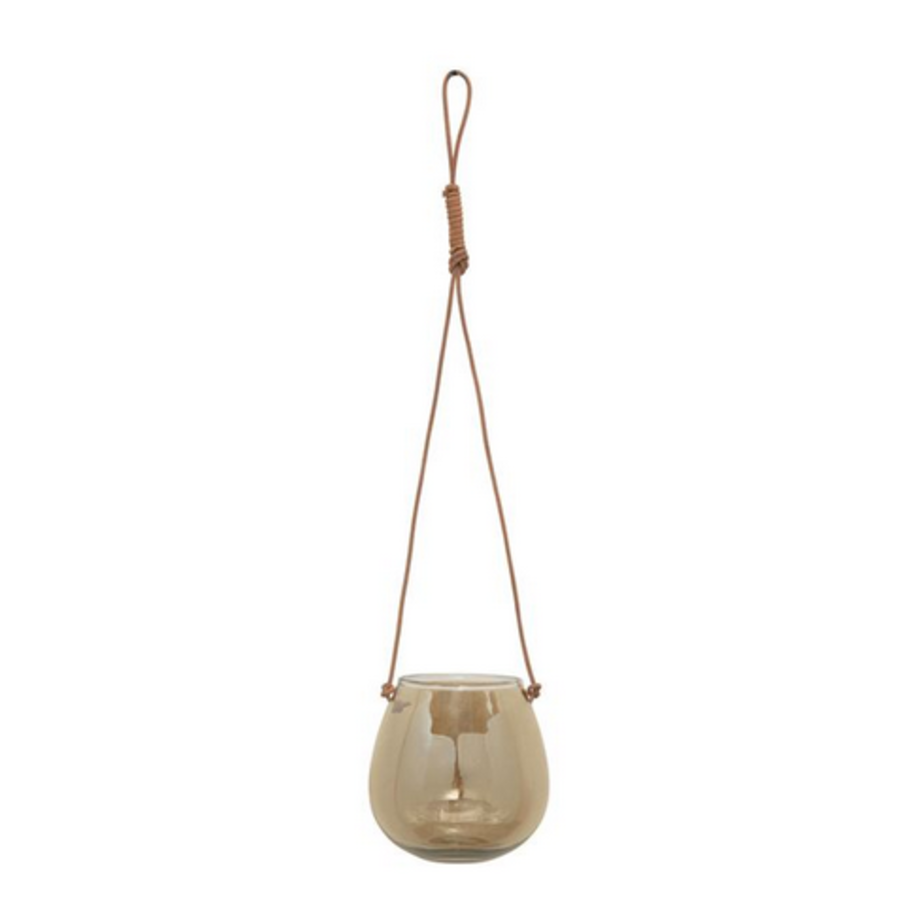 Glass Hanging Planter/Vase with Leather Hanger, Iridescent Brown