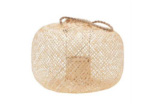Bloomingville Short, Round- Hand Woven Bamboo Lantern with Jute Handle and Glass Insert, Natural